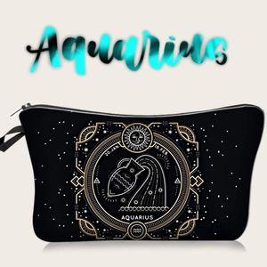 Astrology Aquarius Makeup Bag Black Zodiac